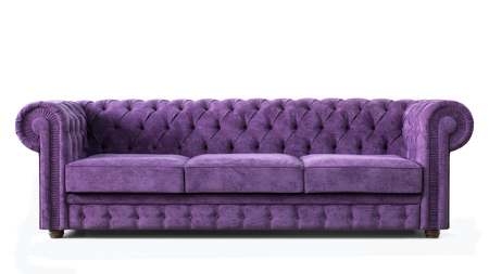 Photo pour Huge expensive and luxurious sofa with purple upholstery. Front view. Image of furniture isolated on white background. - image libre de droit