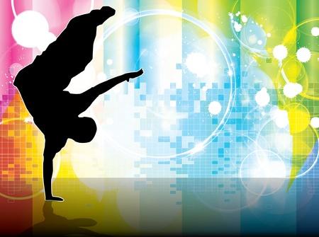 illustration of breakdancer.