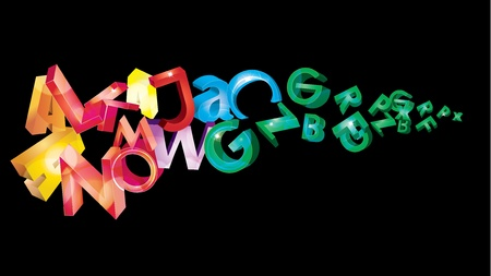 illustration with rainbow letters