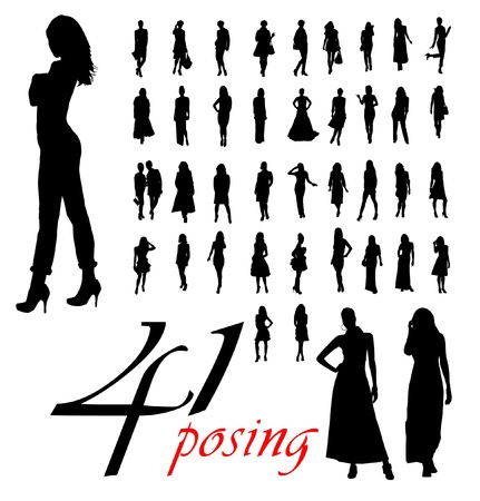 High quality traced posing woman silhouettes.