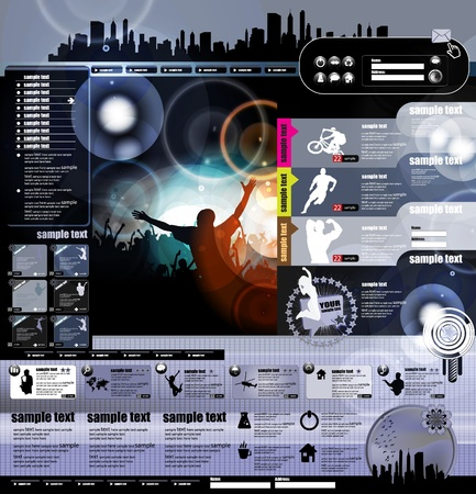 Web site layout with music event subject