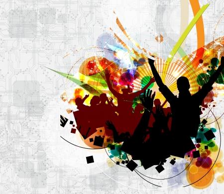 Dancing people  Concert illustration