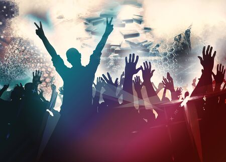 Photo pour Party background with dancing people - image libre de droit