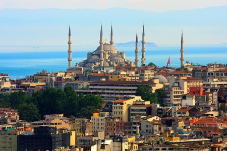 Istanbul skyline with blue mosque and marmara sea in background