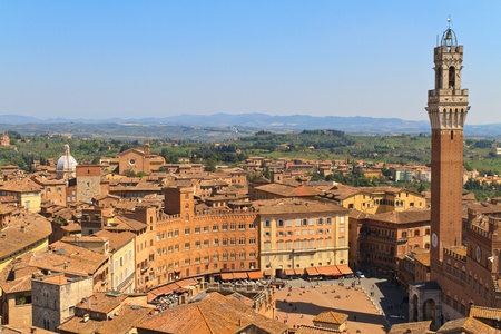 Piazza del Campo with Palazzo Pubblico, Siena, Italy