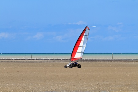 Land sailing on the a beach in Brittany,  France (Char à voile)