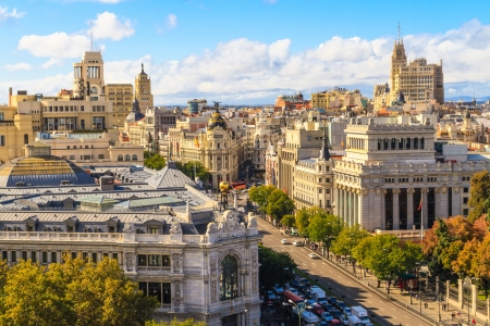 Madrid cityscape and aerial view of of Gran Via shopping street, Spain