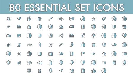 Illustration pour Set comunication simple 80 essential icon colorline filled outline symbols for web and mobile, shop, contact, social media market, technology, arrow. - image libre de droit