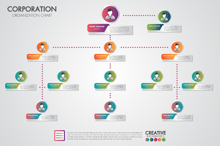 Ilustración de Corporate organization chart template with business people icons. Vector modern infographics and simple with profile illustration.Corporate hierarchy and human model connection. - Imagen libre de derechos