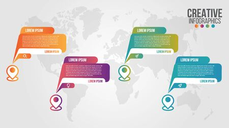 Illustration pour Infographic modern timeline design vector template for business with 4 steps or options illustrate a strategy. Can be used for workflow layout, diagram, annual report, web design, team work. - image libre de droit