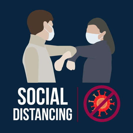 Illustration pour Social Distancing for covid 19 with couple using face mask.Keep distance in public society people to protect from COVID-19 coronavirus.Man and woman keep a distance. - image libre de droit