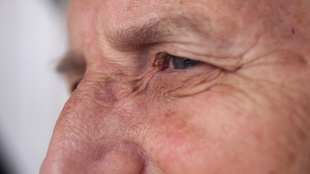 Photo for age, vision and old people concept - close up of senior woman face and eye - Royalty Free Image