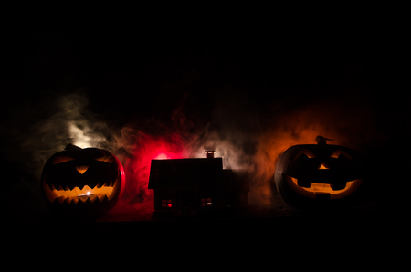 Apocalyptic Halloween scenery with old house pumpkin  Horror zombie