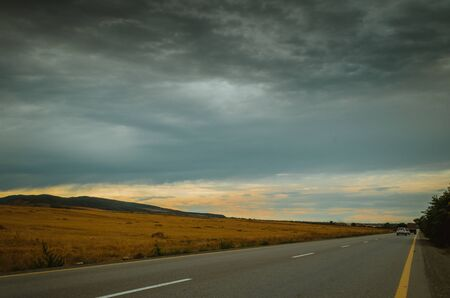 Cycling mountain road. Misty mountain road in high mountains.. Cloudy sky with mountain road. Azerbaijan nature