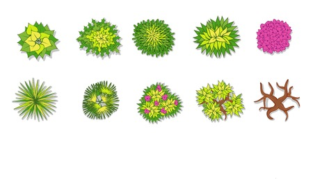 Illustration pour Trees, plant , flower item top view for landscape design - image libre de droit