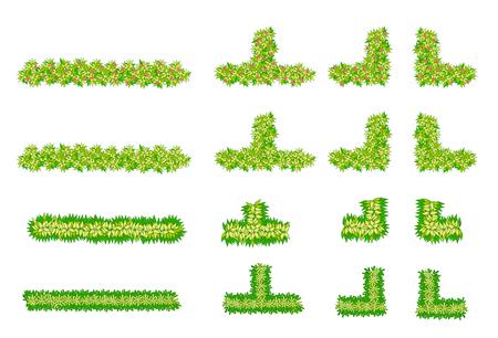 Brush, plant , flower item top view for landscape design