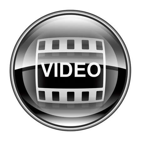 Film icon black, isolated on white background.