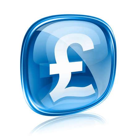 Pound icon blue glass, isolated on white background