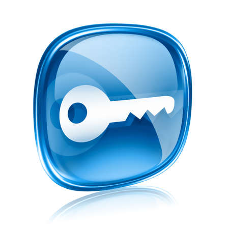 Key icon blue glass, isolated on white background