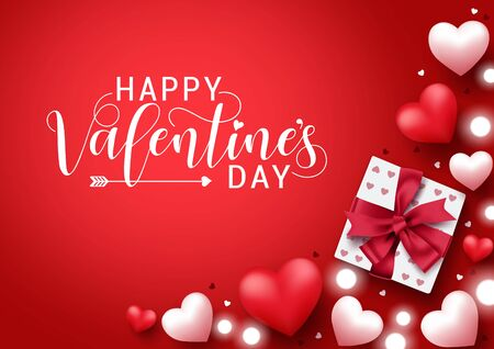 Illustration for Valentines vector banner background. Happy valentines day greeting typography  with elements like gift, hearts and lights decoration in red background. Vector illustration. - Royalty Free Image