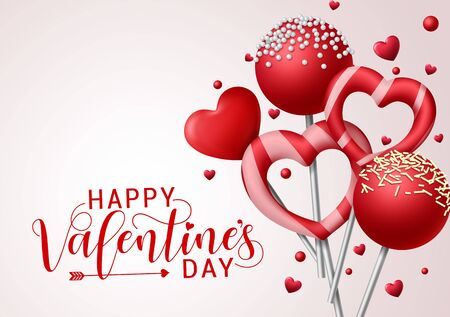 Illustration for Valentine candies vector background template. Happy valentines greeting text with valentines candy and lollipop elements in heart and round shape with toppings in gray background. Vector illustration. - Royalty Free Image