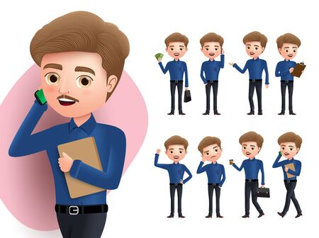 Illustration pour Businessman character vector set. Business man characters calling mobile phone, signing, thinking, walking and standing holding money poses isolated in white background. Vector illustration. - image libre de droit