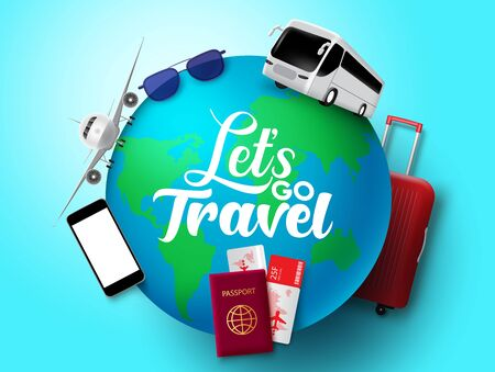 Illustration pour Let's go travel vector concept design. Let's go travel text in globe with transportation and tour element like bus, airplane, passport, ticket, luggage and sunglasses in blue background. Vector illustration. - image libre de droit
