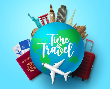 Illustration pour Time to travel vector concept design. Time to travel text in globe with travelling and world country landmark elements for vacation trip and tour adventure in blue background. Vector illustration. - image libre de droit