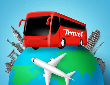 Illustration pour Travel bus vector design. Travel text in transportation bus with globe element and world famous country landmarks destination for world trip and tour adventure. Vector illustration. - image libre de droit