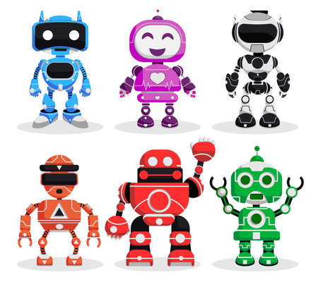 Illustration pour Robot vector character set. Robotic characters in standing pose and gestures in modern design for games toy robots cartoon collection. Vector illustration. - image libre de droit