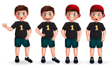 Illustration pour Male character vector set. Boy 3d characters in friendly and standing pose and gestures isolated in white background for school student collection design. Vector illustration - image libre de droit