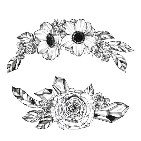 Photo pour Black Ink Tattoo Hand Drawn Bouquet - image libre de droit