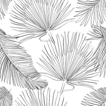 Photo pour Seamless Pattern with Outlined Black Palm Leaves - image libre de droit