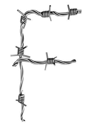 Barbed wire alphabet, F