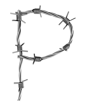 Barbed wire alphabet, P
