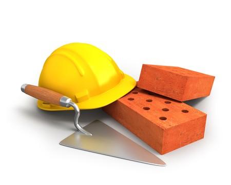 Bricks, trowel and a helmet
