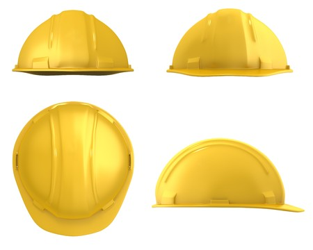 Yellow builder's helmet four views