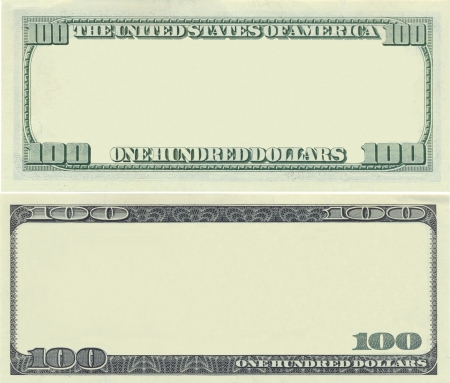 Clear 100 dollar banknote pattern for design purposes