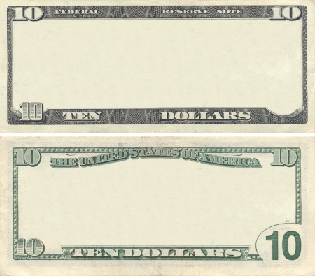 Clear 10 dollar banknote pattern for design purposes
