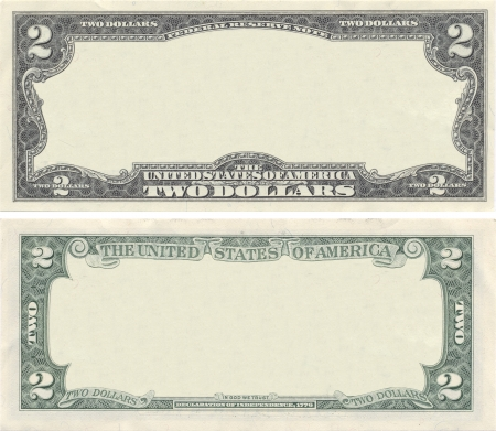 Clear 2 dollar banknote pattern for design purposes