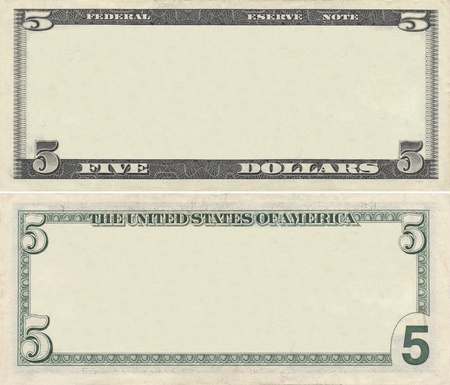 Clear 5 dollar banknote pattern for design purposes