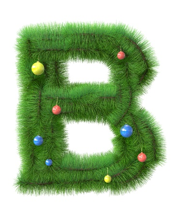 B letter made of christmas tree branches isolated on white background