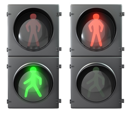 Photo for Set of pedestrian light lights with walk and go lights,front view, isolated on white background - Royalty Free Image