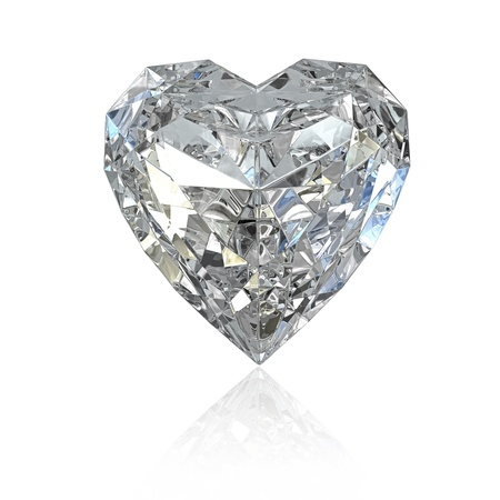 Heart shaped diamond, isolated on white background
