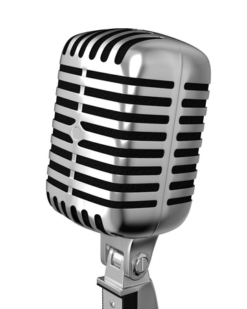Classic microphone closeup, isolated on white background