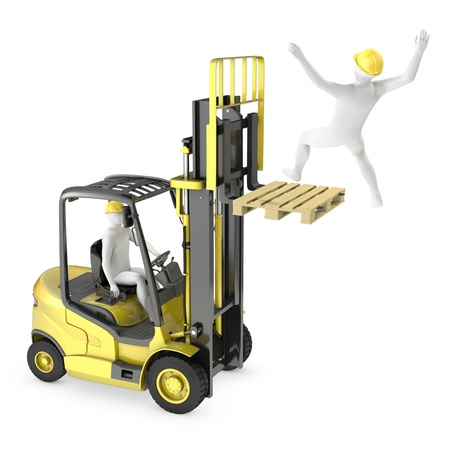 Photo pour Abstract white man falling from lift truck fork, due to safety violation, isolated on white background - image libre de droit