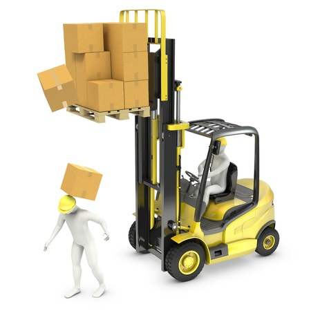 Photo pour Worker was hit by cardoard falling from lift truck fork, isolated on white background - image libre de droit
