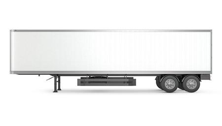 Foto de Blank white parked semi trailer, side view, isolated on white background - Imagen libre de derechos