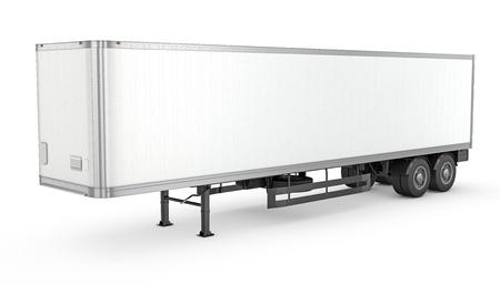 Foto de Blank white parked semi trailer, isolated on white background - Imagen libre de derechos