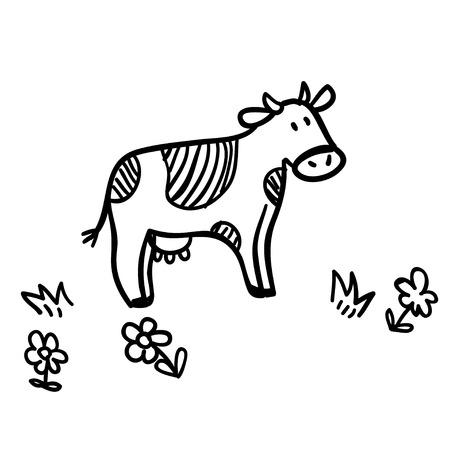 Ilustración de Cute doodle illustration with funny cow. Funny cow line art. Vector cartoon cow. Cartoon cow on white background. Funny cow with flowers. - Imagen libre de derechos